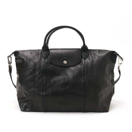 Longchamp 小羊皮可摺疊二用包_短把/大/黑色
