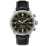TIMEX 160周年刻劃時代雙眼計時皮帶錶-銀x黑