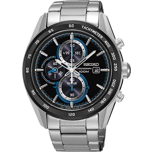 SEIKO Criteria 炫彩太陽能計時碼錶~黑 43mm V176~0AL0S SS
