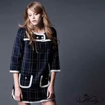 【Hedy赫蒂】壓摺縫邊珍珠金蔥格配色直筒洋裝(藍色)