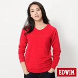 EDWIN 反面剪接拉克蘭長袖T恤-女-紅色