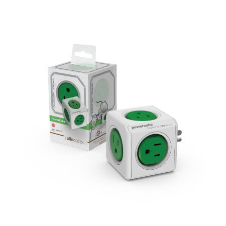 【PowerCube】魔術方塊擴充插座 (3孔+5插座) 綠色