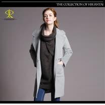 玄太-素色修身翻領毛料長版大衣外套(灰)