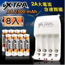 VXTRA 新經濟型2A大電流急速智能充電器+3號高容量2300mAh低自放電池(8顆入)
