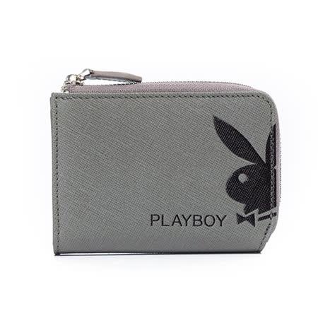 PLAYBOY- Fusion 融合色變系列 L拉鍊零錢包-深灰色