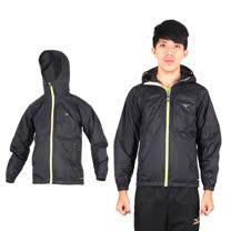 (男) MIZUNO 風衣外套- 路跑 慢跑 運動外套 美津濃 黑螢光黃