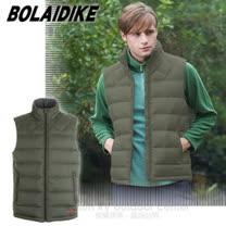 【波萊迪克bolaidike】男新款 立體橫格輕量防潑水透氣立領保暖羽絨背心_TC013 深綠