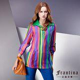 【法蘭蒂娜】翻領撞色亮彩條紋反摺袖釦長版襯衫