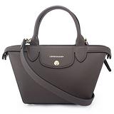 Longchamp 新款Heritage防刮皮革手提斜背二用包-迷你/灰色