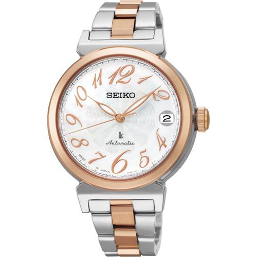 SEIKO LUKIA 機械錶~白貝x雙色版 33mm 4R35~00J0KS SRP87