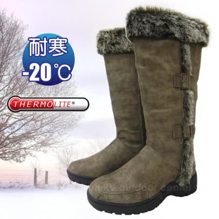 【極地時尚】女新款 高筒毛絨側扣專業保暖雪鞋、雪靴(附冰爪)系列/內層保暖刷毛雪靴/可可 SN164
