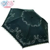 ◆日本雨之戀◆鈦金膠散熱降溫3~5℃摺疊傘 - 相思葉【黑內香檳金】遮陽傘/雨傘/晴雨傘/專櫃傘