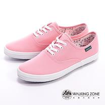 WALKING ZONE (女)果漾YOUNG純棉帆布女鞋-粉(另有黑/白/紅/黃/藍/深藍)