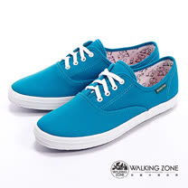 WALKING ZONE (女)果漾YOUNG純棉帆布女鞋-藍(另有黑/白/紅/黃/粉/深藍)