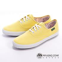WALKING ZONE (女)果漾YOUNG純棉帆布女鞋-黃(另有黑/白/紅/藍/粉/深藍)