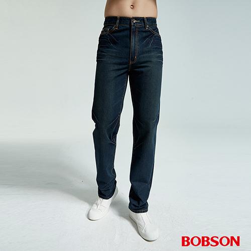 BOBSON 男款鬼爪痕直筒牛仔褲 藍1667~77