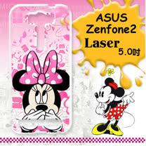 迪士尼授權正版 ASUS Zenfone 2 Laser 5.0吋 ZE500KL 大頭系列透明手機軟殼(摀嘴米妮)
