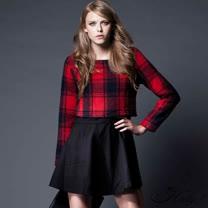 【Hedy赫蒂】假兩件大格紋毛呢上衣圓裙洋裝(紅色)