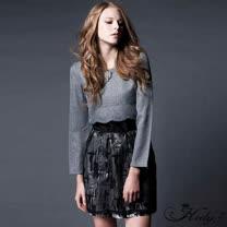 【Hedy赫蒂】花瓣短擺上衣拼紗混色圓裙洋裝(灰色)