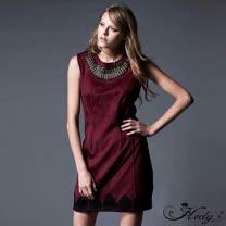 【Hedy赫蒂】縫珠領刺繡下擺縫線無袖麂皮洋裝(共二色)