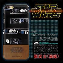 電影授權正版 STAR WARS 星際大戰 iPhone 6/6s i6s 4.7吋 雙料皮革手機殼(黑武士橫條)