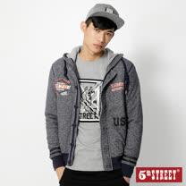 5th STREET 針織鋪棉連帽外套-男-灰藍色