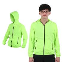 (男) SOFO 連帽風衣外套-防風外套 螢光綠