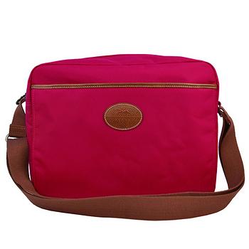 Longchamp 經典高彩度斜背尼龍大方包-艷紅色