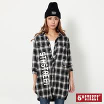 5th STREET 運動風格紋長版襯衫-女-丈青色
