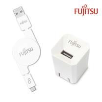 FUJITSU富士通 1A電源供應器+MICRO USB捲線(白)