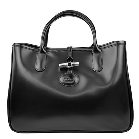 Longchamp Roseau系列經典皮革手提托特包_黑色