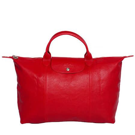 Longchamp 小羊皮可摺疊二用包_短把/大/紅色