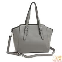 【MOROM】真皮名模私藏歐風時尚二用包(灰色)A8028