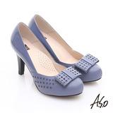 【A.S.O】優雅時尚 真皮幾何沖孔蝴蝶結飾高跟鞋(藍)