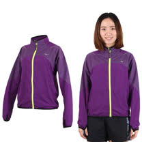 (女) MIZUNO 立領路跑風衣外套- 防風 慢跑 美津濃 深紫螢光黃