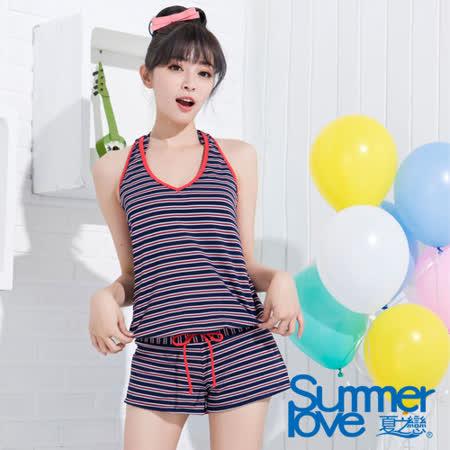 【夏之戀TRAVEL FOX】海軍風連身褲三件式泳衣(C15703)