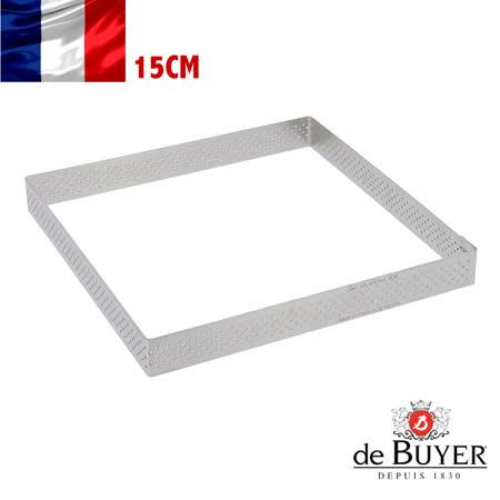 法國【de Buyer】畢耶烘焙『法芙娜不鏽鋼氣孔塔模系列』方形帶孔15公分塔模