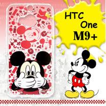 迪士尼授權正版 HTC One M9+ 大頭背景系列透明軟式手機殼(摀嘴米奇)