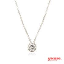 【YUME】K金6mm包鑲單鑽項鍊