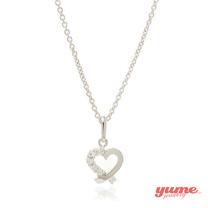 【YUME】K金緞帶愛心晶鑽項鍊