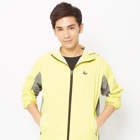 V.TEAM(男)-雙色防潑功能性連帽外套-黃