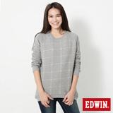EDWIN 拉克蘭格紋剪接長袖T恤-女-麻灰色