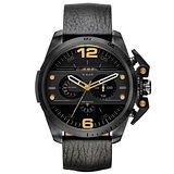 DIESEL 鋼鐵之臂潮流個性腕錶-皮帶黑
