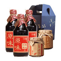 【豆油伯】職人入魂醬料禮盒(紅麴醬油X3+金豆豉X1+麻辣醬X1)