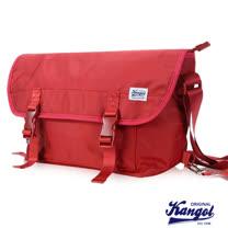 KANGOL 英式時尚輕時尚休閒大空間郵差包防潑水尼龍 斜側包-活力紅KG1116-01