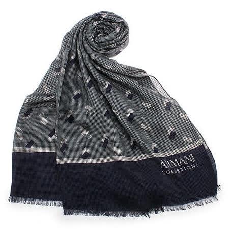 ARMANI COLLEZIONI 細格紋造型流蘇薄圍巾-藍色