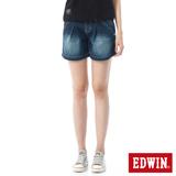 EDWIN MISS打摺牛仔短褲-女-原藍磨