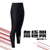 (男女) INSTAR 極速緊身長褲-緊身褲 台灣製 慢跑 路跑 籃球 內搭褲 黑紅