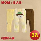 (購物車)【MOM AND BAB】淘氣小猴純棉休閒長褲-三件組(6M-4T)