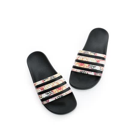 Adidas 女鞋 拖鞋-黑花-S75567